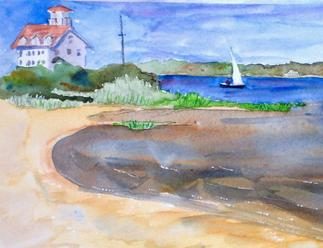 Coast Guard Station watercolor