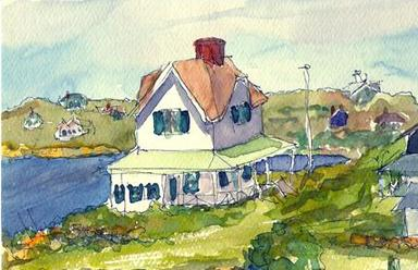 Island Cottage Watercolor
