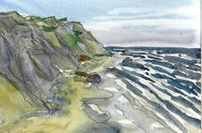 Mohegan Bluffs - watercolor